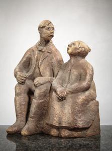 Raili Mikkosen veistos Janne ja Fiina, 2002. Kuva @Heikki Merenkylä