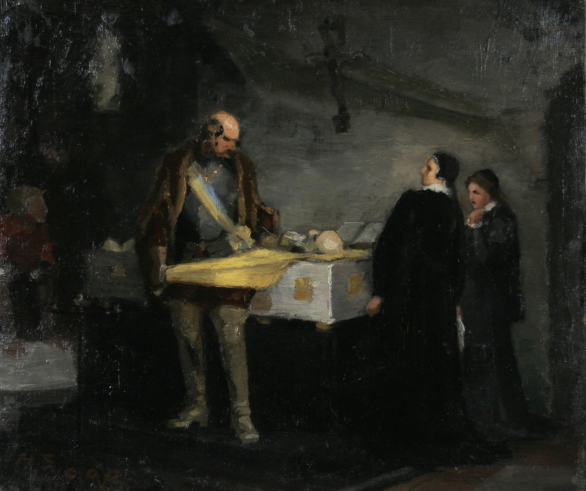 Helene Schjerfbeckin maalaus Kaarle-herttua häpäisee Klaus Flemingin ruumista
