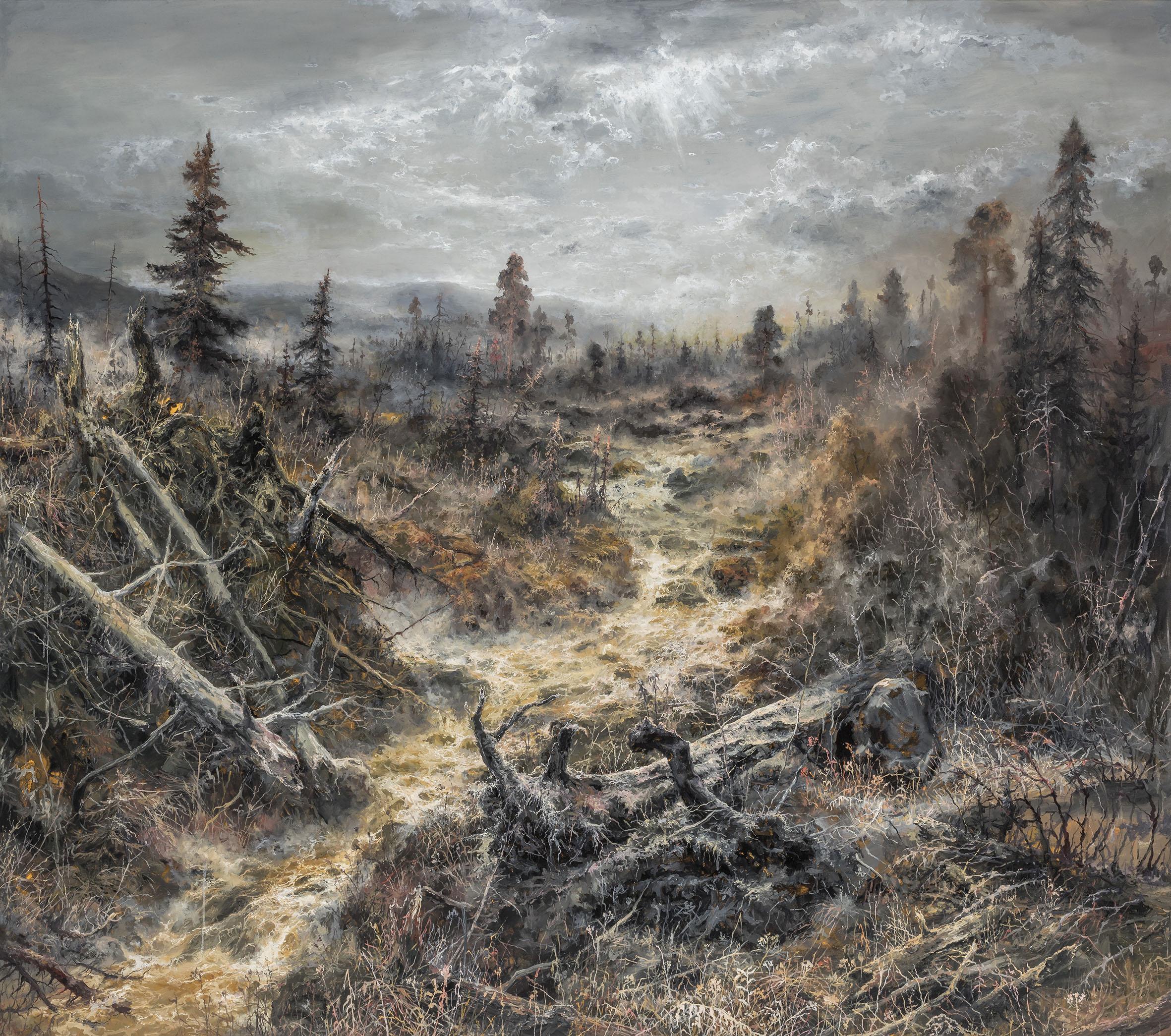 Petri Ala-Maunus, Backwater, 2018. Öljy kankaalle 150 x 170. Kuva Rauno Träskelin
