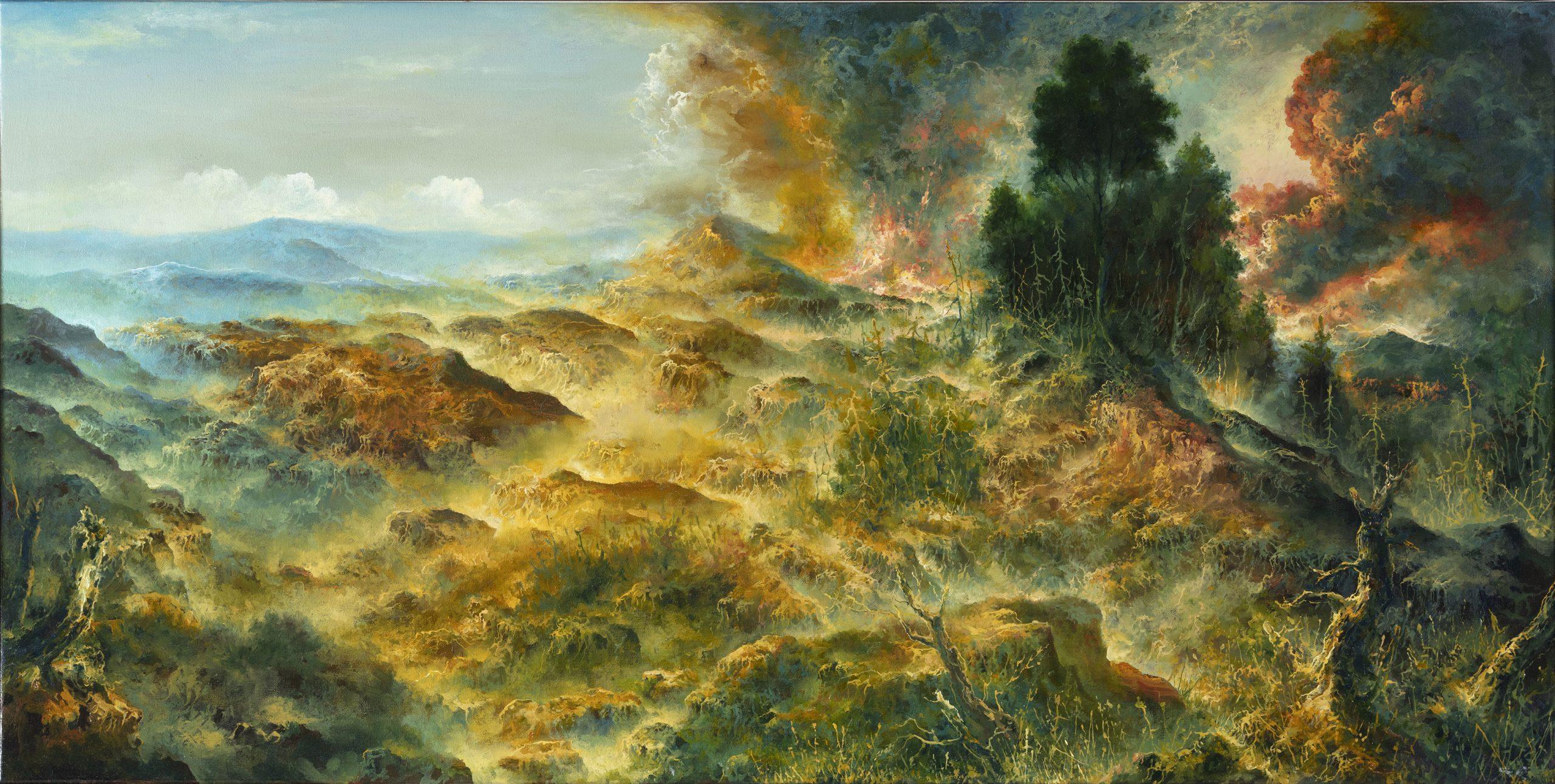 Petri Ala-Maunus, Celestial Explosion, 2020. Öljy kankaalle 50 x 100. Kuva Jefunne Gimpel